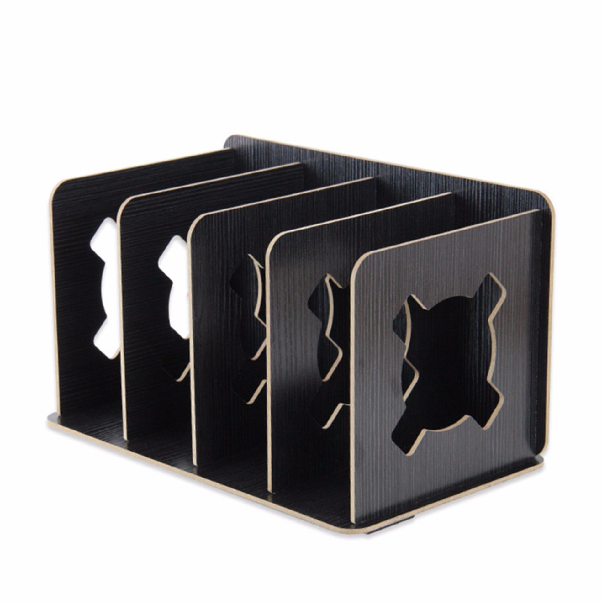Detachable Wooden Grain Design Home Desk Book Rack Desktop DIYOrganizer  Shelf Office Supplies Magazine File Storage