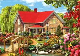 Diamond Painting Cross Stitch Diy Embroidery Red Farmhouse Painting Round Drill Diamond Mosaic Beads Pasted Needlework