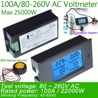 Digital AC Voltage Meters 100A/80~260V Power Energy analogVoltmeter Ammeter watt current Amps Volt meter LED Panel Monitor -intl