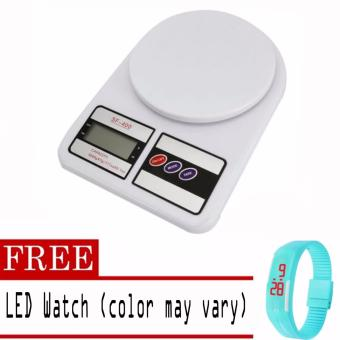 Digital Glass Kitchen Weighing Scale LCD 5KG / 1G with free LEDWatch (color may vary)