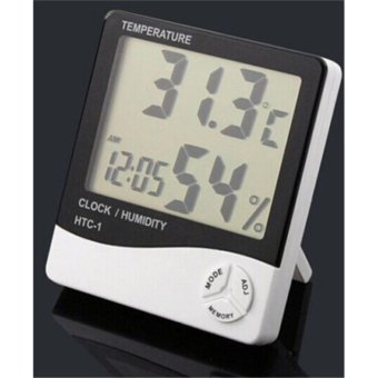 Digital LCD Thermometer Hygrometer Temperature Humidity Meter Gauge Clock NEW - intl