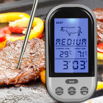 Digital Wireless Remote Kitchen Oven Food Cooking/BBQ Grill SmokerMeat Thermometer With Probe and Timer,Temperature Gauge&Alert -intl