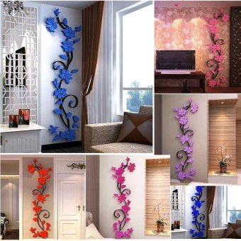 DIY 3D acrylic Modern Flower Decal Art Mural Wall Sticker Home Decoration - intl - 3