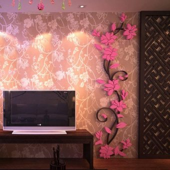 DIY 3D acrylic Modern Flower Decal Art Mural Wall Sticker HomeDecoration - intl