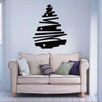 DIY Christmas star tree Merry Christmas wall sticker home decor shop store Black - Intl