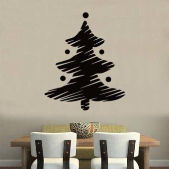 DIY Funny Christmas tree Merry Christmas wall sticker home decor shop store Black - Intl