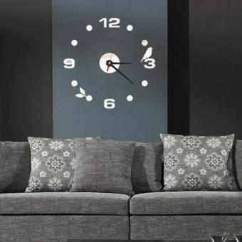 DIY Large Wall Clock Home Office Room Decor 3D Mirror Surface Sticker Black