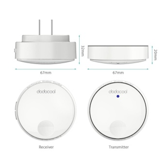 dodocool Self-powered Battery-free Wireless Doorbell Kit with 1Battery-free Transmitter Push Button and 2 Plug-in Receivers CDQuality Sound 38 Melodies 4 Volume Levels 262ft Range White US Plug- intl - 3