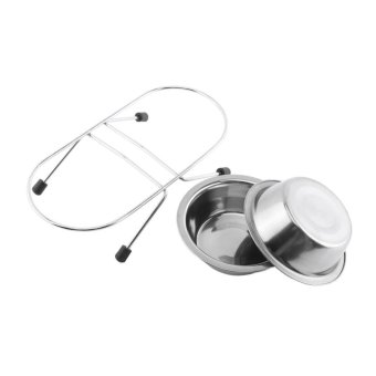 Double Dog Bowl Dish Stainless Steel Feeding Drinking Pet Feeder(11cm) - intl - 3