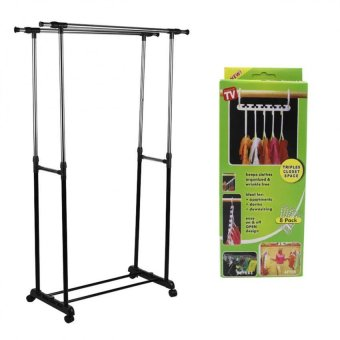Double Pole Clothes Rack with Hanger Triples Closet Space (8packet/Set)