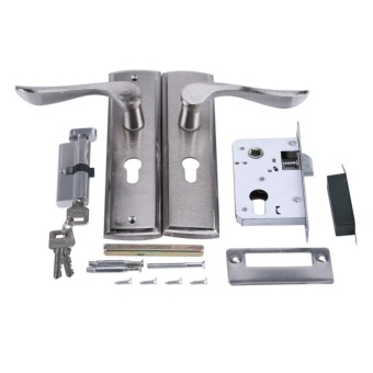 Durable Door Handle Lock Cylinder Front Back Lever Latch HomeSecurity with Keys - intl