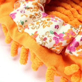Dust Mop Slippers Shoes Floor Polishing Cover Cleaner BathroomOffice Kitchen Cleaning Foot Shoes Orange - 2