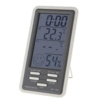 EagleTech DC803 Digital LCD Temperature Humidity Meter Clock Hygrometer Thermometer Indoor and Outdoor