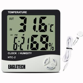 EagleTech HTC-2 Digital LCD Temperature Humidity Meter Clock Hygrometer Thermometer Indoor and Outdoor - 5