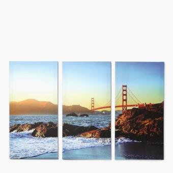 Easy Art Triptych 3-piece Baker Beach & Golden Gate Premium Canvas Art - 2