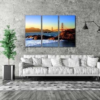 Easy Art Triptych 3-piece Baker Beach & Golden Gate Premium Canvas Art