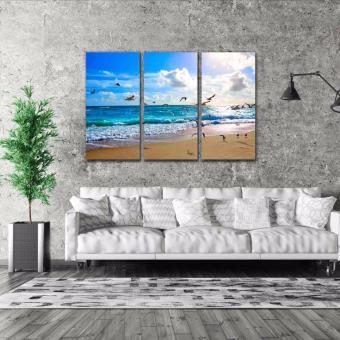 Easy Art Triptych 3-piece Palm Beach Florida Premium Canvas Art