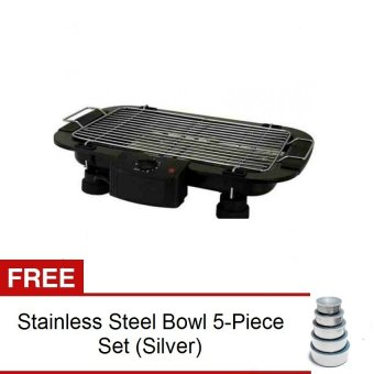 Electric Outdoor Barbecue Grill (Black) with FREE Stainless Steel Bowl 5-Piece Set (Silver)