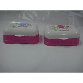 Elegant Style Soap Case with Cover Rectangular Pink Set of 2 - 5