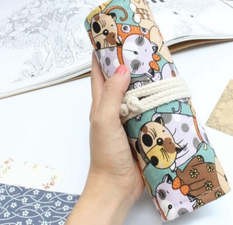 360dsc 48 Hole Multi Function Canvas & Leather Roll Up Pencils Wrap Source · Complete EOZY Fashion 48 Holes Canvas Wrap Roll Up Pencil Case Cat PrintedPen ...