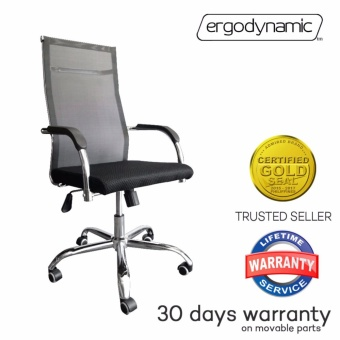 Ergodynamic(TM) EHC-P12 High Back Mesh Office Chair, Textillen Mesh in back, chrome armrests, chrome frame & base, tilt mechanism, swivel function, pneumatic height adjustment (Black)