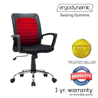 Ergodynamic EMC-169Red Mid Back Mesh Office Chair Furniture (Red)
