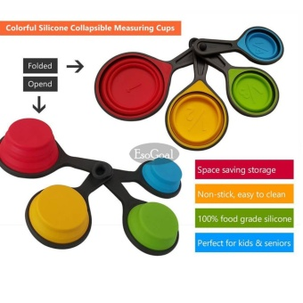 EsoGoal Cups and Measuring Spoons Set, Collapsible Measuring Cups, 8 piece Silicone Kitchen Measuring Set engraved in Metric/US Measurements for dry and liquid ingredients - intl - 4