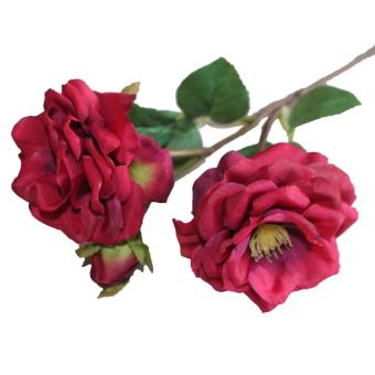 European Peony 3 Heads Artificial Silk Flower (Rose Red)