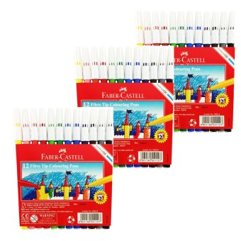 Faber-Castell Coloring Pens 12 Colors Set of 3