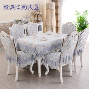 Fabric chair European-style square table dining table sets cushion chair cover