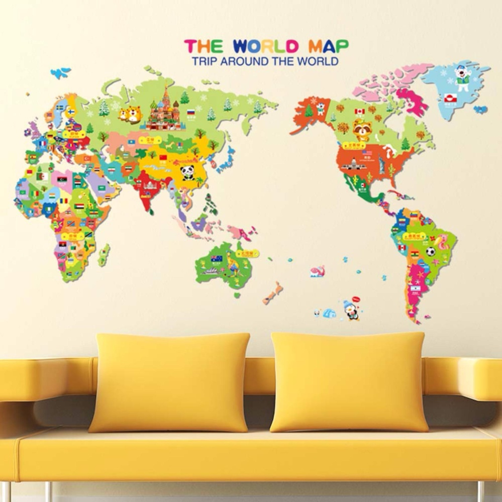 Philippines | Fancyqube Removable Animal World Map Wall Sticker ...