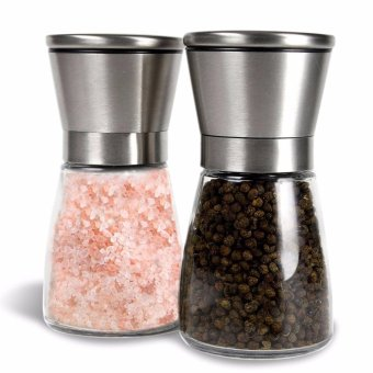 Fangfang Premium Stainless Steel Salt & Pepper Grinder , PepperMill and Salt Mill - Salt & Pepper Shaker - Ideal Gift - SpiceGrinder with Adjustable Coarseness, Easy to Fill - BrushedStainless Steel - intl