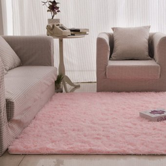 Fashion Fluffy Rugs Anti-Skid 40X60cm Home Bedroom Carpet Floor Mat (Pink)