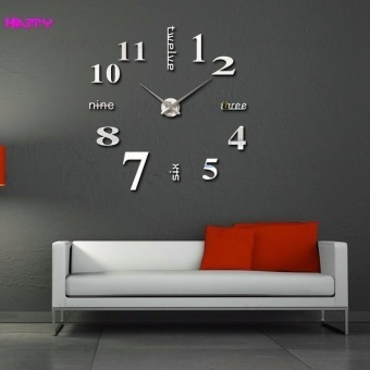 Fashion Home Decoration 3D Diy Wall Clock - Silver - intl