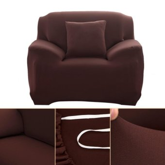 Fashion Slipcover Stretchable Pure Color Sofa Cushion Cover (Chair Coffee) - intl - 2
