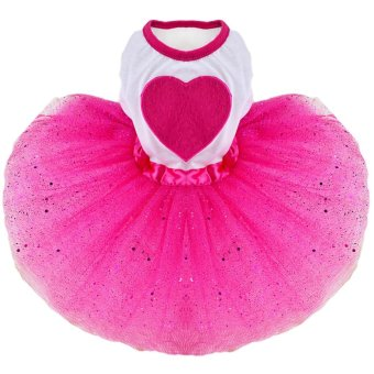 Fashion Sweet Pet Dog Tutu Skirt Dress Clothing Costume ApparelGlitter with Love Heart Ornament for Daily Wedding Party HolidayRose Red Size XS - intl