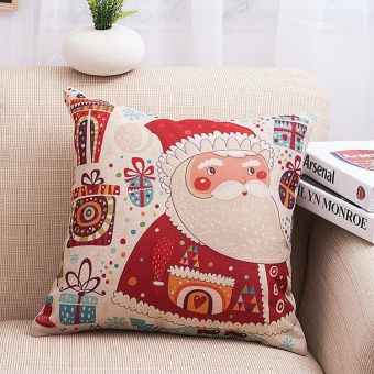 Father Christmas Pattern Chair Cushion Pillowcase Cotton Linen Throw Pillow Cover Christmas Presents - intl