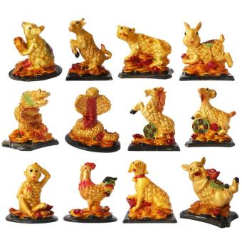 Feng Shui 12 Chinese Zodiac Animals Lucky Figurines (Gold)