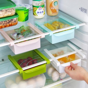 Fengsheng 2Pcs Kitchen Plastic Fridge Space Saver Storage Boxes DIY Slide Under Shelf Rack Organizer Holder - intl