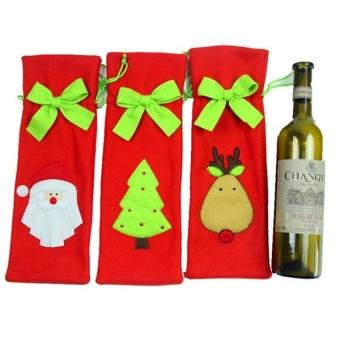 Festival Gift Party Table Decor Dinner Bottle Cover Bags Sets Santa Tree Christmas Red Wine - intl - 4