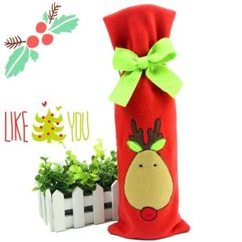Festival Gift Party Table Decor Dinner Bottle Cover Bags Sets Santa Tree Christmas Red Wine - intl - 2