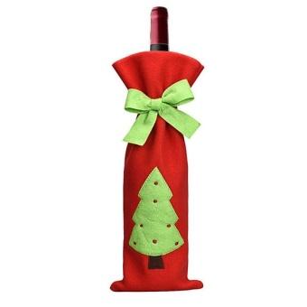 Festival Gift Party Table Decor Dinner Bottle Cover Bags Sets Santa Tree Christmas Red Wine - intl - 3