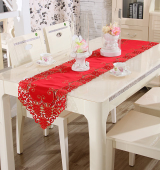 Festive embroidered red porous cover cloth table cloth