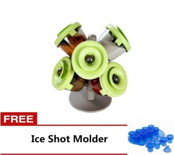 FineLife Pop-Up Spice Rack (Green) with FREE Ice Shot Molder (Blue)