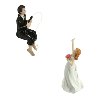 Fishing Bride And Groom Funny Wedding Cake Toppers Decoration Resin Figurine