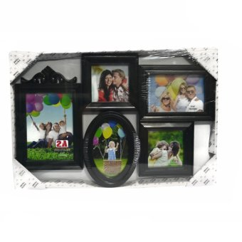 Five Frame With Oval Frame Design Collage Picture Frame (Black)