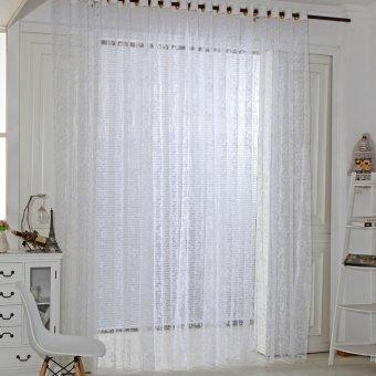 Five Leaves Flowers Sheer Voile Door Window Curtains White   Intl