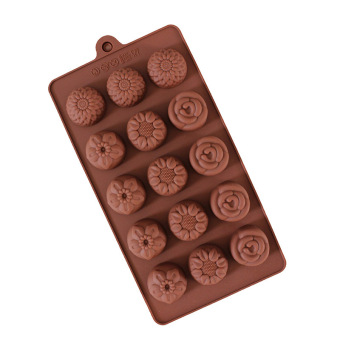 Five With Four Different Flowers Chocolate Mould Cake Mold IceLattices - 2