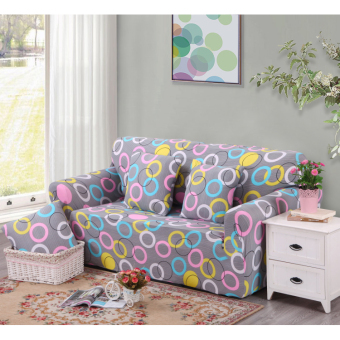 Floral Series Spandex Stretch Fitted Sofa Case Cover For 2 Seater intl