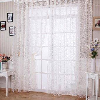 Floral Tulle Voile Door Window Curtain White   Intl